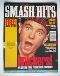 <!--1992-10-28-->Smash Hits magazine Tony Mortimer cover (28 October - 10 N