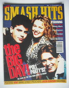 <!--1992-12-09-->Smash Hits magazine - Jordan Knight, Kylie Minogue and Mar