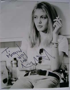 Angelina Jolie autograph (hand-signed photograph, dedicated)