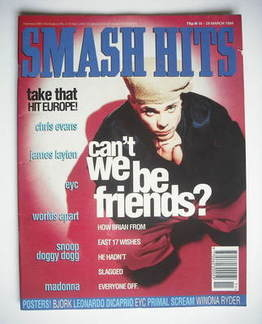 <!--1994-03-16-->Smash Hits magazine - Brian Harvey cover (16-29 March 1994
