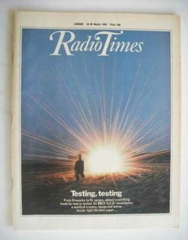 Radio Times magazine - Testing, Testing cover (24-30 March 1984)