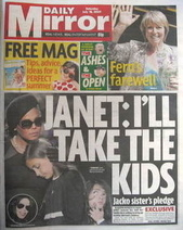 Daily Mirror newspaper - Janet Jackson cover (18 July 2009)