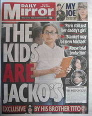 Daily Mirror newspaper - Paris Jackson cover (16 July 2009)