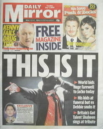 Daily Mirror newspaper - Michael Jackson cover (7 July 2009)