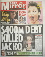 Daily Mirror newspaper - Michael Jackson cover (6 July 2009)