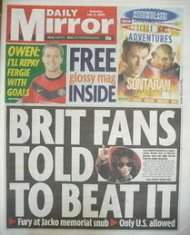 Daily Mirror newspaper - Michael Jackson cover (4 July 2009)