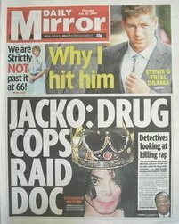 Daily Mirror newspaper - Michael Jackson cover (23 July 2009)