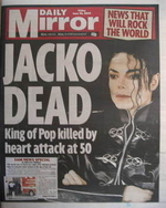 Daily Mirror newspaper - Michael Jackson cover (26 June 2009 - Cover 1)