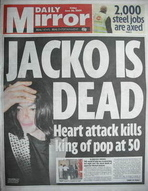 Daily Mirror newspaper - Michael Jackson cover (26 June 2009 - Cover 2)