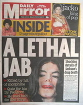 Daily Mirror newspaper - Michael Jackson cover (27 June 2009)