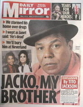 Daily Mirror newspaper - Tito Jackson cover (15 July 2009)
