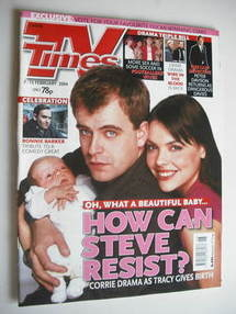<!--2004-02-07-->TV Times magazine - Simon Gregson and Kate Ford cover (7-1