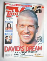 <!--2004-06-12-->TV Times magazine - David Beckham cover (12-18 June 2004)