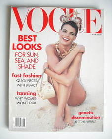 US Vogue magazine - June 1990 - Linda Evangelista cover