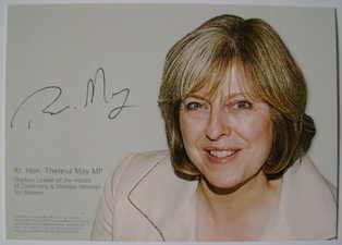 Theresa May autograph