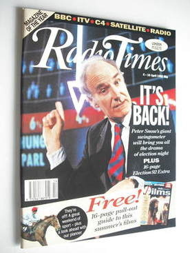 <!--1992-04-04-->Radio Times magazine - Peter Snow cover (4-10 April 1992)