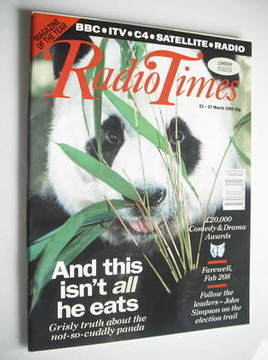 <!--1992-03-21-->Radio Times magazine - Panda cover (21-27 March 1992)