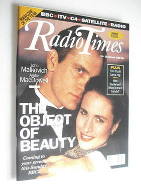<!--1992-02-15-->Radio Times magazine - John Malkovich and Andie MacDowell