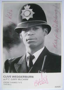Clive Wedderburn autograph (ex The Bill actor)