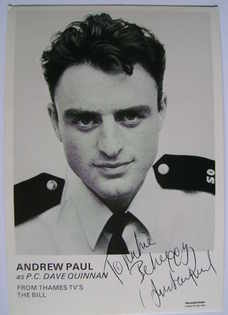 Andrew Paul autograph (ex The Bill actor)