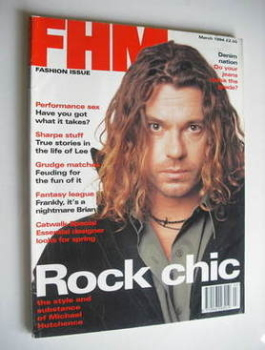 FHM magazine - Michael Hutchence cover (March 1994 - Fashion Issue)