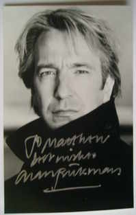 Alan Rickman autograph (hand-signed photograph, dedicated)