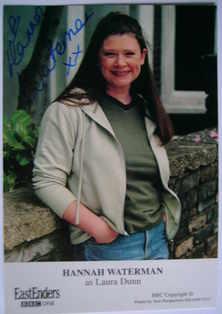 Hannah Waterman autograph (ex EastEnders actor)