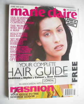 British Marie Claire magazine - June 1993 - Yasmeen Ghauri cover