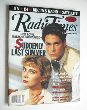 <!--1993-11-06-->Radio Times magazine - Rob Lowe and Natasha Richardson cov