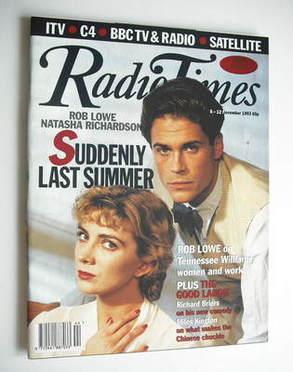 <!--1993-11-06-->Radio Times magazine - Rob Lowe and Natasha Richardson cov