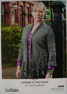 Lindsey Coulson autograph (EastEnders actor)