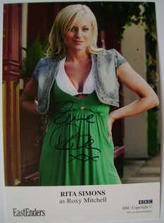Rita Simons autograph (EastEnders actor)