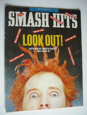 <!--1986-02-12-->Smash Hits magazine - John Lydon cover (12-25 February 198