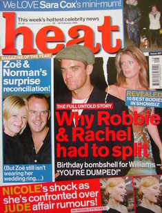 <!--2003-02-22-->Heat magazine - Why Robbie & Rachel Had To Split cover (22