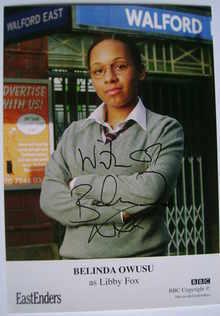Belinda Owusu autograph (ex-EastEnders actor)