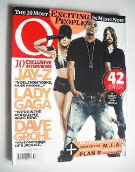 Q magazine - Lady Gaga, Jay-Z and Dave Grohl cover (October 2010)