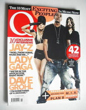 <!--2010-10-->Q magazine - Lady Gaga, Jay-Z and Dave Grohl cover (October 2