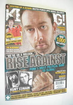 <!--2011-04-02-->Kerrang magazine - Rise Against cover (2 April 2011 - Issu