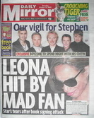 Daily Mirror newspaper - Leona Lewis cover (15 October 2009)