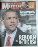Daily Mirror newspaper - Barack Obama cover (21 January 2009)