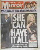 Daily Mirror newspaper - Madonna and Guy Ritchie cover (17 October 2008)