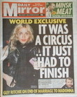 Daily Mirror newspaper - Madonna cover (16 October 2008)