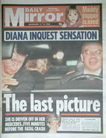 Daily Mirror newspaper - Princess Diana cover (3 October 2007)