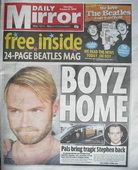 Daily Mirror newspaper - Ronan Keating cover (17 October 2009)