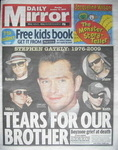 Daily Mirror newspaper - Stephen Gately / Boyzone cover (12 October 2009)