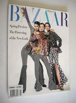 Harper's Bazaar magazine - January 1993 - Kate Moss, Meghan Douglas and Patricia Hartman cover