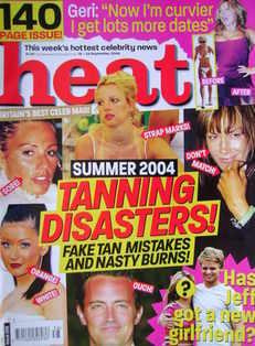 <!--2004-09-18-->Heat magazine - Tanning Disasters! cover (18-24 September