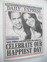 Daily Express newspaper - Prince William and Kate Middleton cover (29 April 2011)
