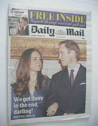 Daily Mail newspaper - Prince William and Kate Middleton cover (17 November 2010)