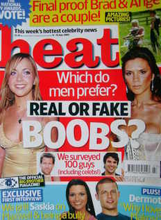 <!--2005-07-09-->Heat magazine - Real or Fake Boobs cover (9-15 July 2005 -